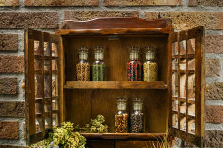 rack mount: Farms vintage Spice Rack or Storage Cabinet: Wall Mount - Display Shelf, Six Glass Bottleson rural background village life