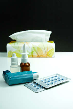 Tissues: Relief asthma, allergy, flu, fever concept, seasonal allergy, medication and paper tissues Stock Photo