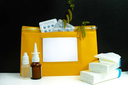 Tissues: Allergy relief concept, seasonal pollen allergy, medication and paper tissues, on black background Stock Photo