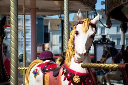 fairground: Horses on a traditional fairground vintage carousel Stock Photo