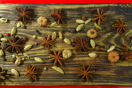 red gram: Colorful food background  - chickpea and spices on textured wooden table top copy space