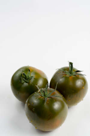 white washed: Ripe green-brown kumato tomatoes isolated