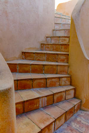 Typical mediterranean terracotta stair and walls, Provence, France Stock Photo