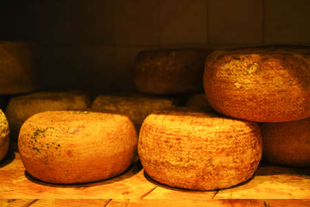 orcia: Typical tuscan pecorino cheese in Pienza, Italy