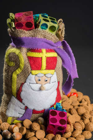 Sinterklaas bag (St. Nicholas bag) filled with gingerbread. Traditional holiday Dutch Sinterklaas.