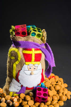 sinterklaas: De zak van Sinterklaas (St. Nicholas bag) filled with pepernoten. Traditional Dutch holiday Sinterklaas. Stock Photo