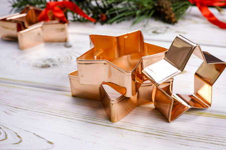 pastry cutters: Star-form copper baking pasry form for Christmas cookies with Christmas decoration
