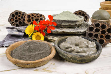 Ancient minerals - black, green and blue clay powder and mud mask for spa, beauty concept