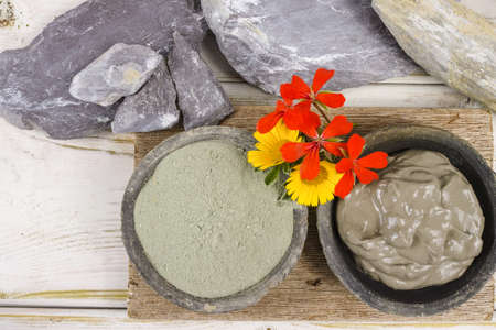 spa mud: Ancient minerals - green clay powder and mud mask for spa, beauty concept