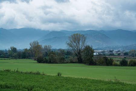 Autumn panoramic view in rainy day near Fondi, Italy Stock Photo