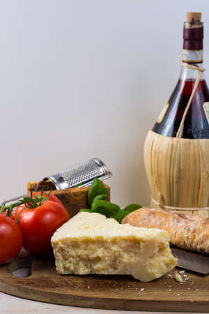 Best Italian food - fresh pecorino cheese on olive wood board