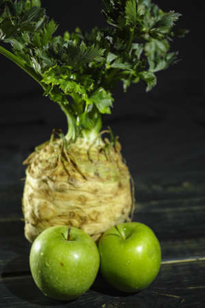 Celery root - celeriac and green apples, fresh healthy vegetables for salad