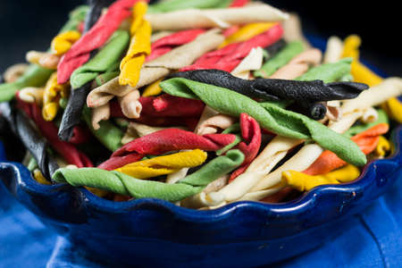 mee: Best italian food - home-made multicolored pasta from Salerno, uncooked Stock Photo