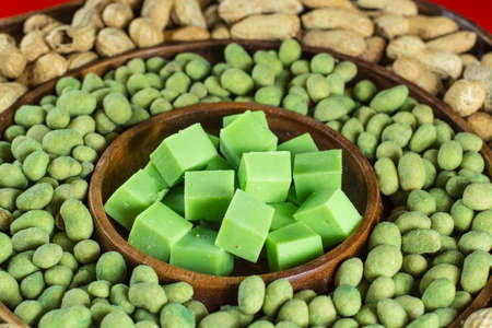 Big party green wasabi peanuts, unshelled peanuts and wasabi cheese mix in oriental style