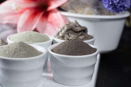 warble: Ancient minerals - luxury face and body spa treatment, clay powder and mask , green, blue and black clay Stock Photo