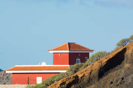 Traditional new Canarian house with terracotta tiles roof on Tenerife, Spain