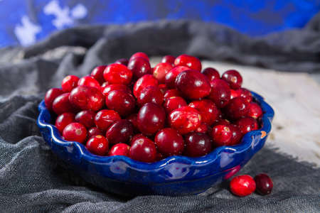 vaccinium macrocarpon: Red cranberries in a blue bowl. Ripe berries of Vaccinium macrocarpon, also large cranberry, American cranberry or bearberry.
