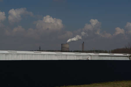 smokestacks: Coal Fossil Fuel Power Plant Smokestacks Emit Carbon Dioxide Pollution and greenhouse