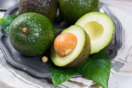 subtropical: Green fresh avocado from organic avocado plantation - healthy food Stock Photo