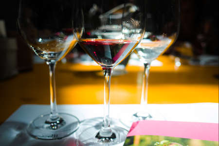 degustation: White and red wine tasting Stock Photo