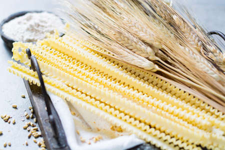 Organic ingredients for pasta preparation - flour from hard wheat grano duro, wheat ears and dried pasta