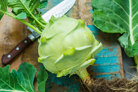 Fresh green kohlrabi with green leaves ready to eat from the garden, new harvest Stock Photo