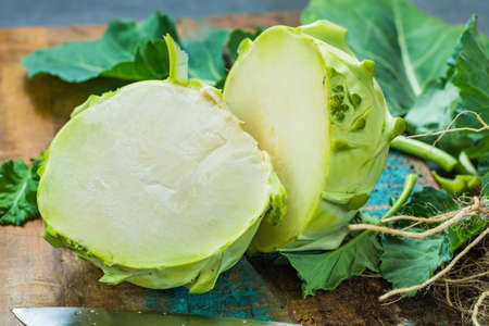 Fresh green kohlrabi with green leaves ready to eat from the garden, new harvest Zdjęcie Seryjne