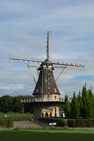 Landscape with old Dutch wild mill in North Brabant Stock Photo