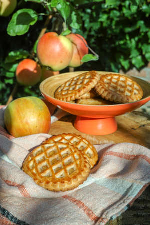 Traditional Dutch autumn apple filled cookies server in the garden under apple tree with big ripe apples, sunny day Stock Photo
