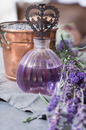 Lavender natural perfumed oil, made from fresh or dried lavender flowers, aroma spa treathment and bodycare for women