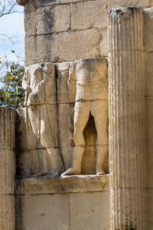 Ruines de la ville romaine abandonnée de Glanum, Saint-Rémy-de-Provence, les Antiques, France Banque d'images - 88383675
