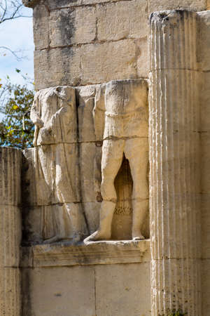 Ruines of abandoned Roman city Glanum, Saint-Remy-de-Provence, les Antiques, France Editorial