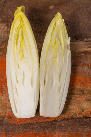 escarola: Fresh organic chicory  endive salad ready to eat, traditional food in Belgium and the Netherlands