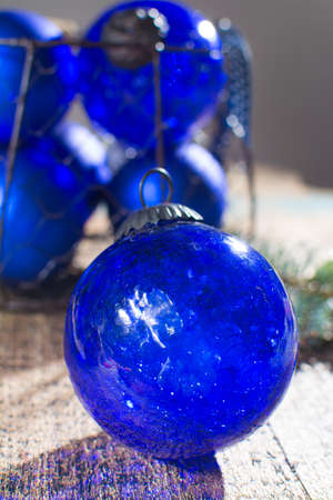 Old vintage cobalt blue Christmas tree balls from glass close up