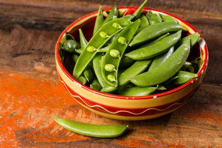 Fresh green sweet pea beans close up Stock Photo