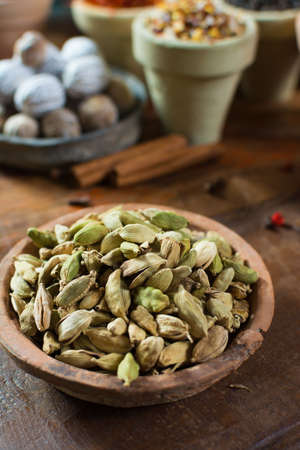 Most expensive spice in the world – dried green cardamom pods with black seeds