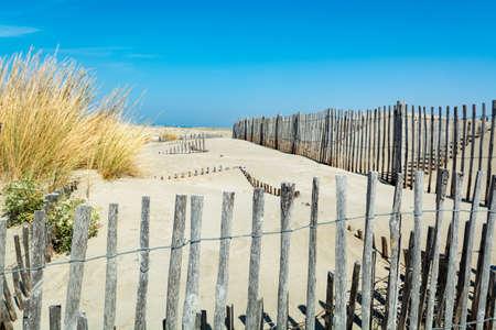 Nice white sand beach at Le Grau du Roi,  Frances Languedoc coast, is known as Plage de lEspiguette near Port Camargue
