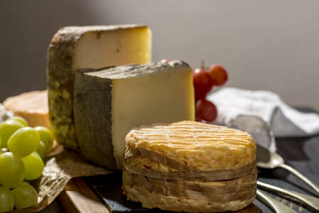 Tasting of oldest french AOC soft pudgent yellow cheese Livarot, Munster and semifirm Tomme, made from cow and goat milk french cheese close up