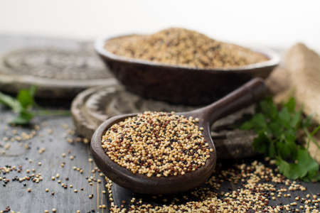 Mix of organic white, yellow and black quinoa, dietary and healthy food, close up