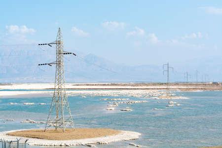 Pover line above lowest salty lake in world below sea level Dead sea