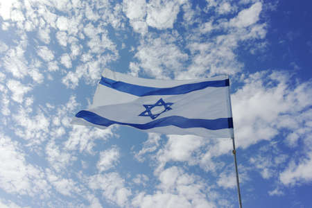 National flag of State of Israel, white-blue with Star of David, Magen David Banco de Imagens