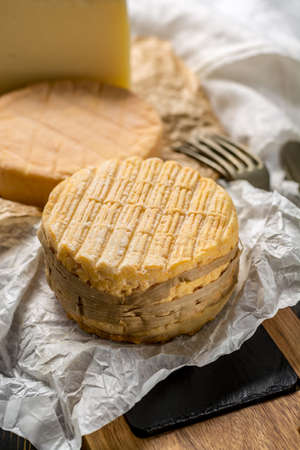 Tasting of oldest french soft pudgent yellow cheese Livarot and Munster, made from cow milk french cheese close up Stock Photo