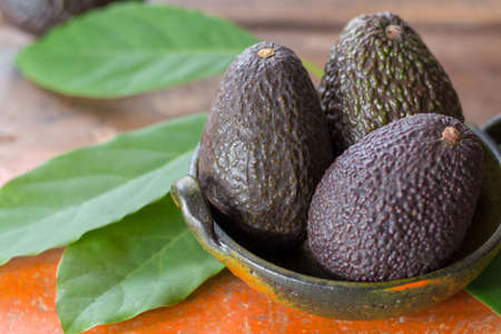 Raw ripe dark green whole avocados with leaves on wooden background 写真素材