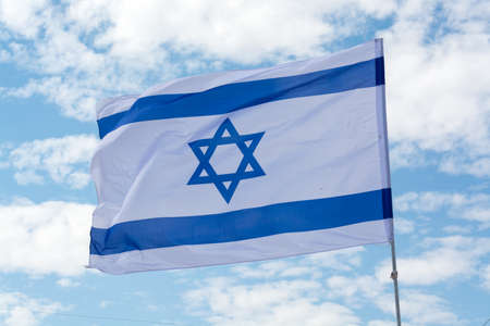 National flag of State of Israel, white-blue with Star of David, Magen David Foto de archivo