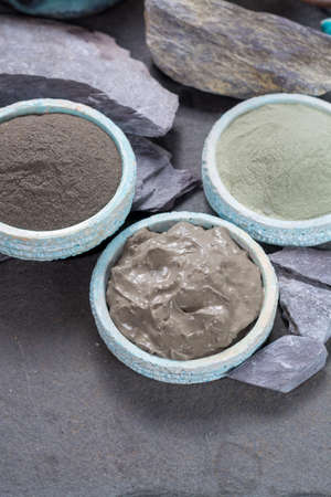 Ancient nature minerals, different types of clay used for skincare, spa treatments, face masks, gray, black, green and blue mud