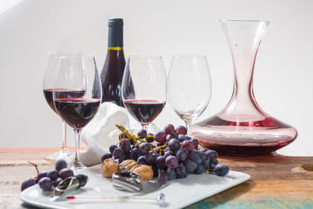 Professional red wine tasting event with high quality wine glasses and wine accessories close up Stock Photo