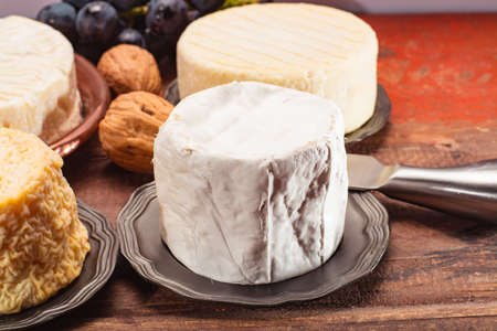 Belgian white mold soft cow milk cheese Bouquet des Moines from Abbey of Val-Dieu close up Stok Fotoğraf