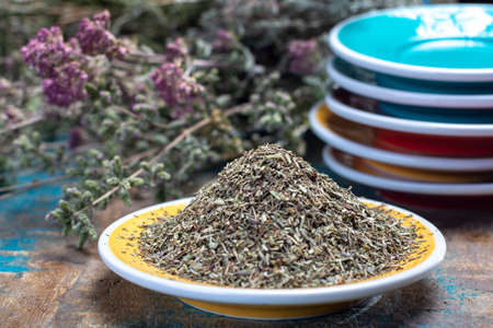 Herbes de Provence, mixture of dried herbs considered typical of the Provence region, blends often contain savory, marjoram, rosemary, thyme,  oregano, lavender leaves, used with grilled foods and stews, close up Stock Photo