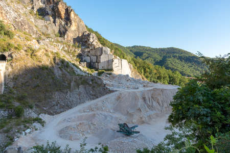 Landscape, white marble quarry in Carrara, Apuan Alps, Italy