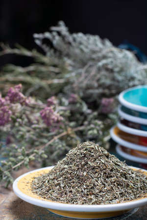 Herbes de Provence, mixture of dried herbs considered typical of the Provence region, blends often contain savory, marjoram, rosemary, thyme,  oregano, lavender leaves, used with grilled foods and stews, close up Zdjęcie Seryjne
